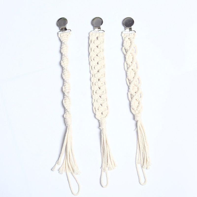 Bebé Crochet algodón chupete Clip cadena mordedor chupete para la dentición soporte para pezones juguete infantil Accesorios