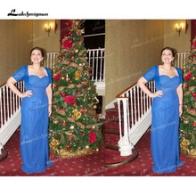 2022 Sheath Blue Chiffon Plus Size Pleats Floor-Length Sweetheart Mother Of The Bride Dress with Jac