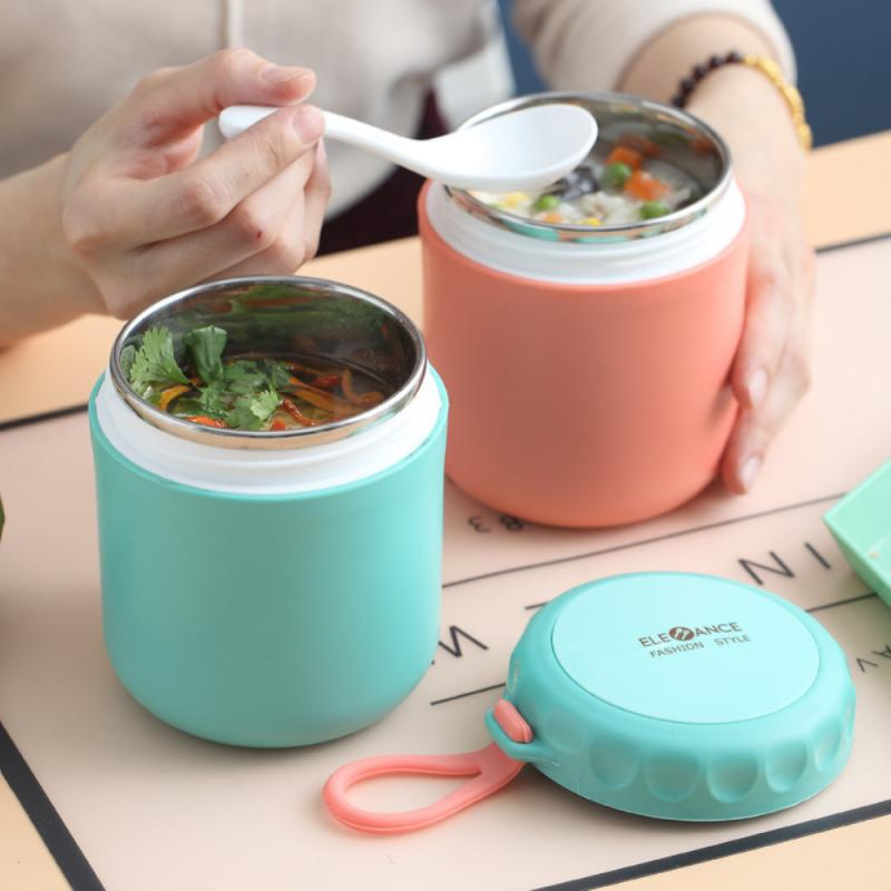 Mini Thermal Lunch Box Food Container With Spoon 304 Stainless Steel Vaccum Cup Soup Insulated Taza Portable Breakfast Lunch Box