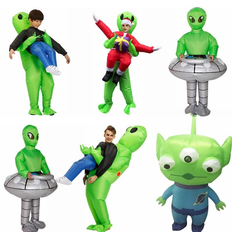 Adulto verde alienígena traje inflável halloween cosplay trajes crianças ufo papai noel disfraz festa de natal role play vestido