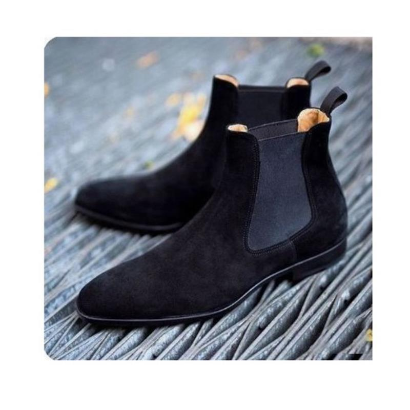 High Quality Fashion Men Suede Leather Slip-on Boots Male Casual Classic Trendy Low Heel Chelsea Boots Zapatos De Hombre HC162