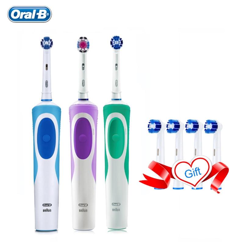 فرشاة أسنان كهربائية من أورال بي فيتاليتي ، تنظيف دقيق ، مؤقت 2 دقيقة ، قابلة لإعادة الشحن مع 4 رؤوس استبدال ، Oralb