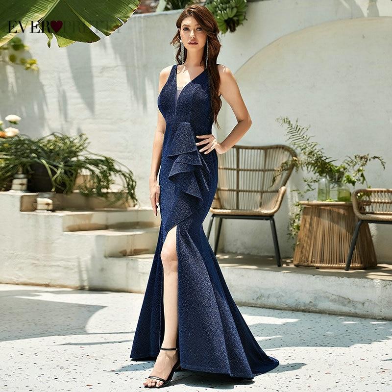 Navy Blue Evening Dresses Long Ever Pretty Sexy Mermaid Deep V Neck Sleeveless Bodycon Formal Party Gown With Ruffles Side Split
