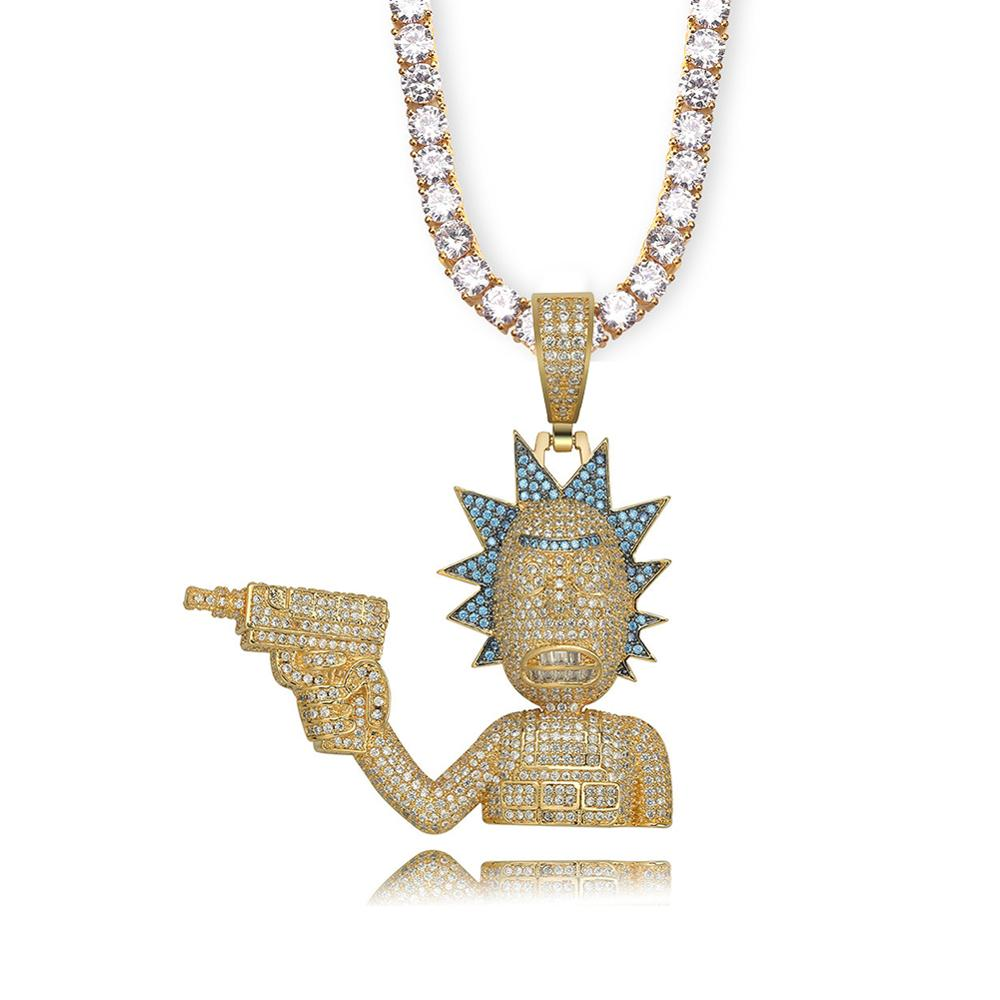Iced Out Rick & Morty colgante collar hombres oro plata Color cadena collar con cadena de tenis personalizado colgante de hip hop joyería