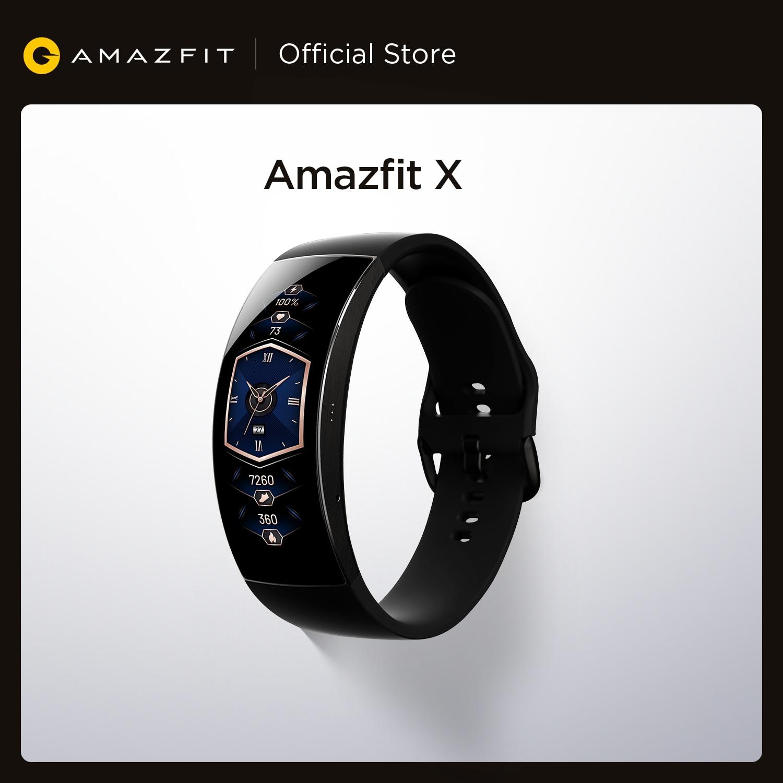 Умные часы Amazfit X, глобальная версия, изогнутый экран, титановый корпус, мониторинг сна, водонепроницаемость 5ATM, несколько спортивных режимо...