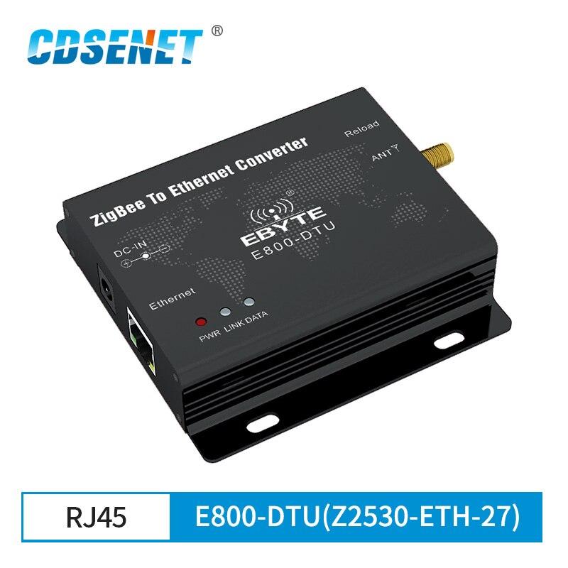 CC2530 زيجبي إيثرنت لاسلكي البيانات مثبت جهاز إرسال واستقبال 27dBm TCP/UDP الارسال والاستقبال E800-DTU(Z2530-ETH-27)