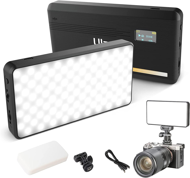 VL200 ثنائي اللون LED الفيديو الضوئي | على كاميرا الفيديو الضوئي s ، نوع-C قابلة للشحن 5000mAh كاميرا ليد صغيرة ضوء ، 2500-9000K الترا