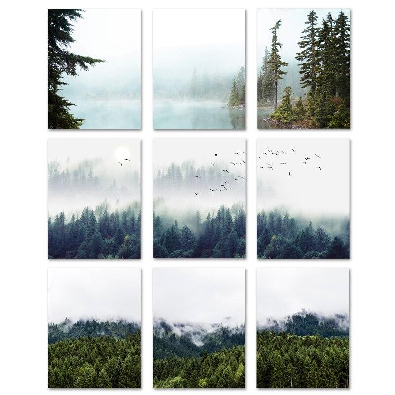 山霧森キャンバスの絵自然風景スカンジナビア壁アートポスター北欧風景家の装飾