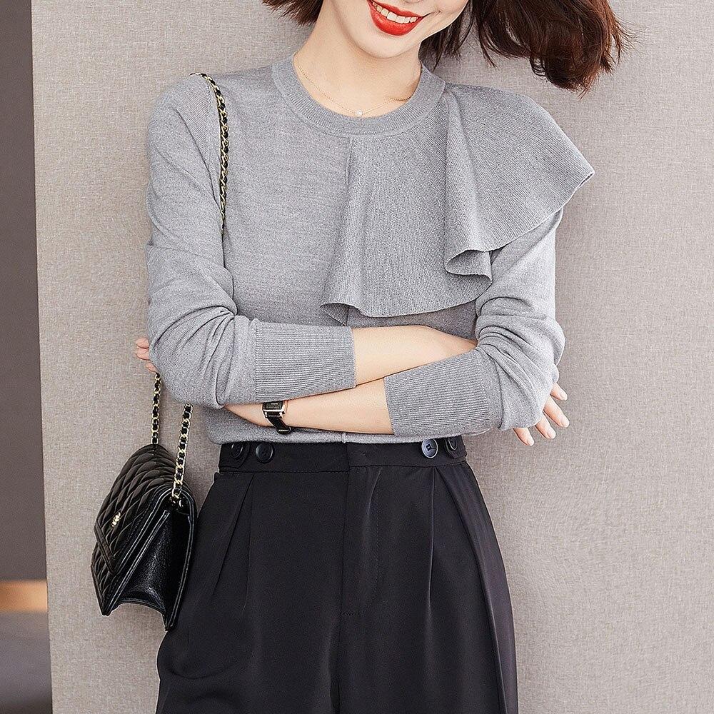 Damski dzianinowy sweter francuska elegancka, z falbanami szwy swetra 2021 jesienno-zimowa moda w stylu koreańskim okrągły kołnierzyk dzianinowy Tshirt
