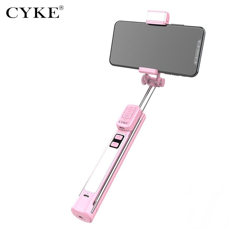 Cyke a18 telescópica selfie vara tripé handheld luz de preenchimento bluetooth auto retrato suporte controle remoto para iphone xiaomi