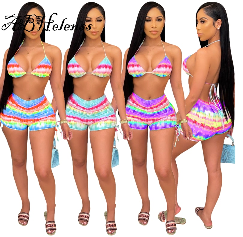 A&BHelenss 2021 Summer Tie Dye Print Beach Two Piece Set Women Sexy Tra Top Drawstring Shorts Swimwear Suit Night Club Outfits