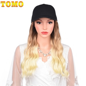 TOMO Short Baseball Cap Hair Wig Synthetic Natural Wave Hair Extensions Wig with Hats Adjustable for Women Blonde Color