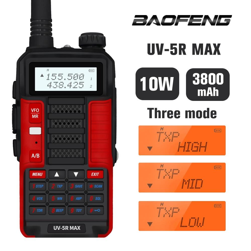 Neue 10W Baofeng UV-5R MAX Walkie Talkie uv5r max High Power Ham Radio Station UV 5R Max Dual Band FM Transceiver 10KM Intercom