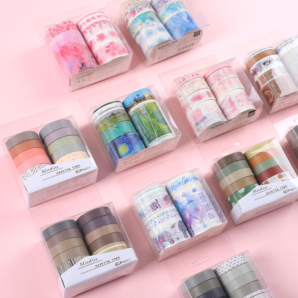 JIANWU 7pcs or 10pcs/set Cute Basic color Washi Tape Scrapbook DIY Masking Tape School Stationery St