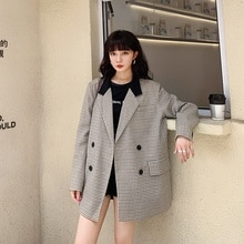 Plaid Blazer Female Casual Loose British Style Spring and Autumn 2021 nian New Style Korean Style Pl