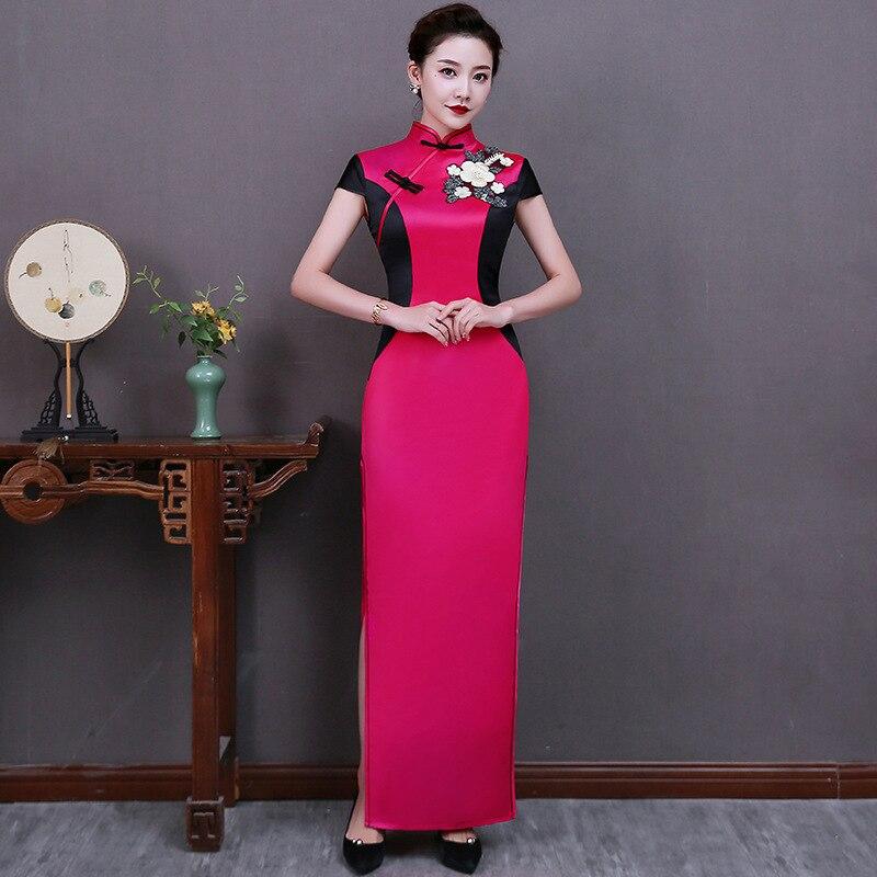 S-5XL المرأة رائعة زهرة يزين طويلة تشيباو أنيقة خمر زر تقليم فستان صيني مثير ضئيلة الجدة شيونغسام