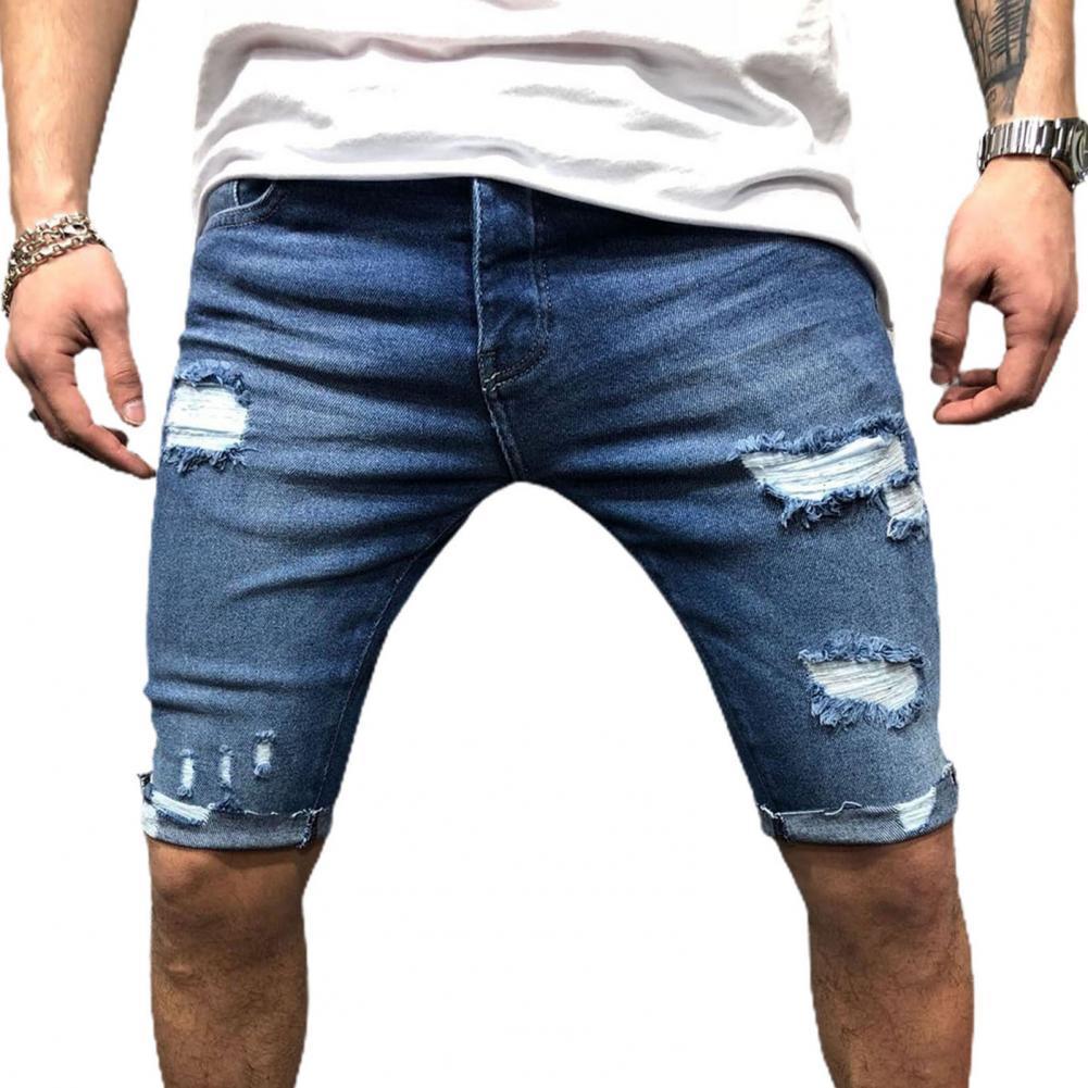 Short Jeans Ripped Skinny shorts Washed denim Boy Skinny Runway short Men Zipper Closure Pockets Shorts men jeans shorts homme