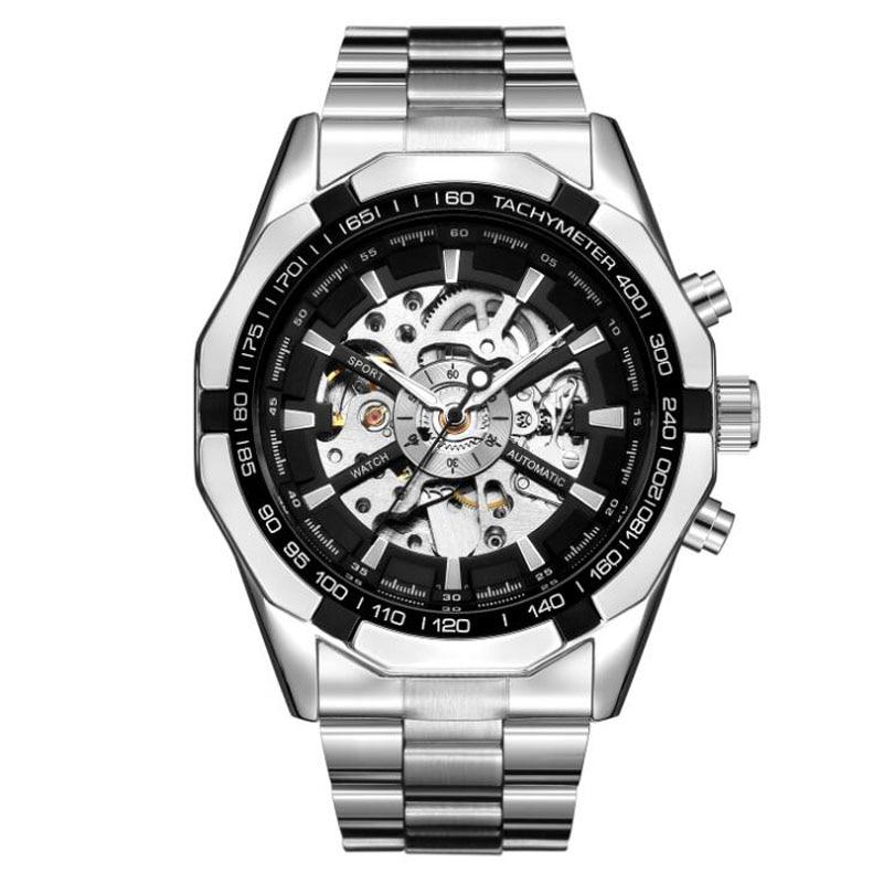 Relojes mecánicos automáticos de acero inoxidable para hombre, relojes de esqueleto montre homme horloge heren de 2019 hombres