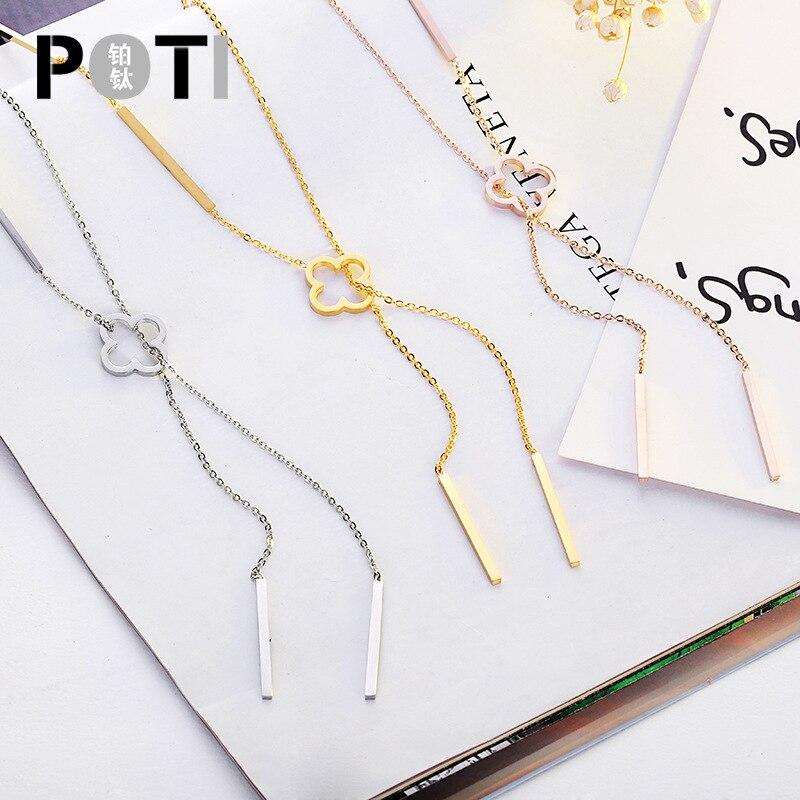 CSHOU111, collar largo de trébol de acero y titanio a la moda, collar de cadena de clavícula de tres colores para mujer