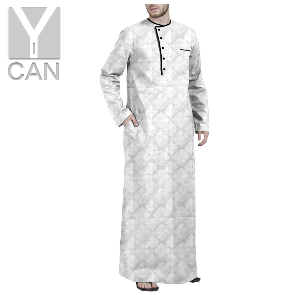 Y-CAN الرجال رداء الإسلامية العربية قفطان مسلم الأزياء طويل كم العباءة الجلباب الملابس المعادن المفاجئة السحابة Jubba الثوب Y201014