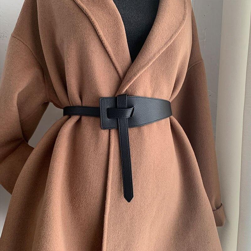 Designer Belts for Women Girdles High Quality Knot Soft Pu Leather Long Cummerbunds Wide Coat Dress