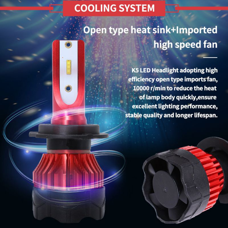 2pcs Mini H1 H4 H7 LED Car Headlight Kit  Bulbs 55W 6000LM LED CSP Chip Car Accessories