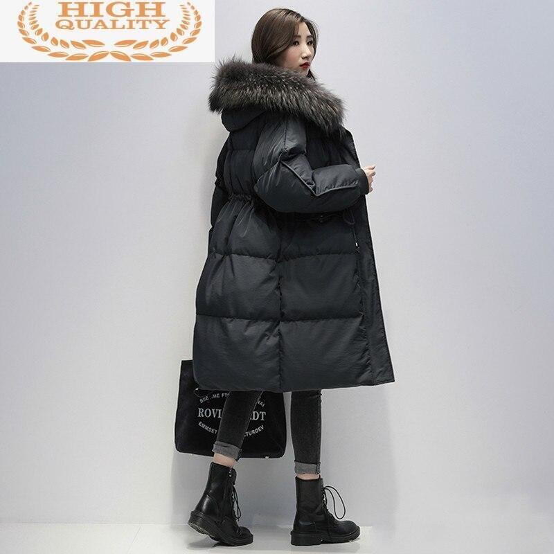 Down Jacket Women's Winter Coat Female Jacket 90% White Duck Down Coats Raccoon Dog Fur Collar Parkas Woman Abrigo Mujer Pph1259