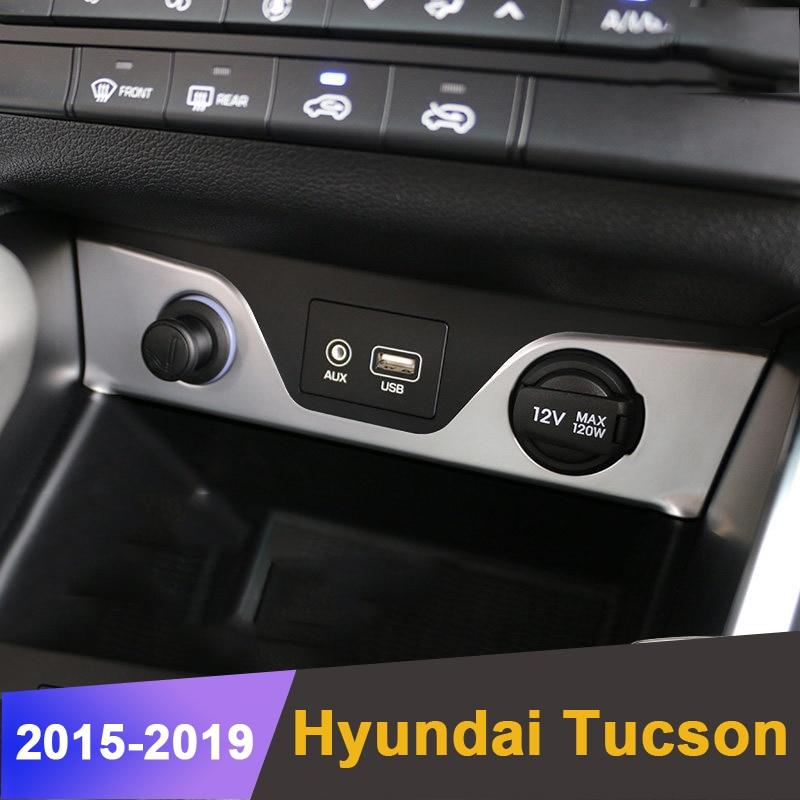 Car Interior Cigarette Lighter USB Port Cover Trim Sticker Decoration For Hyundai Tucson 2015 2016 2017 2018 Molding Accessories