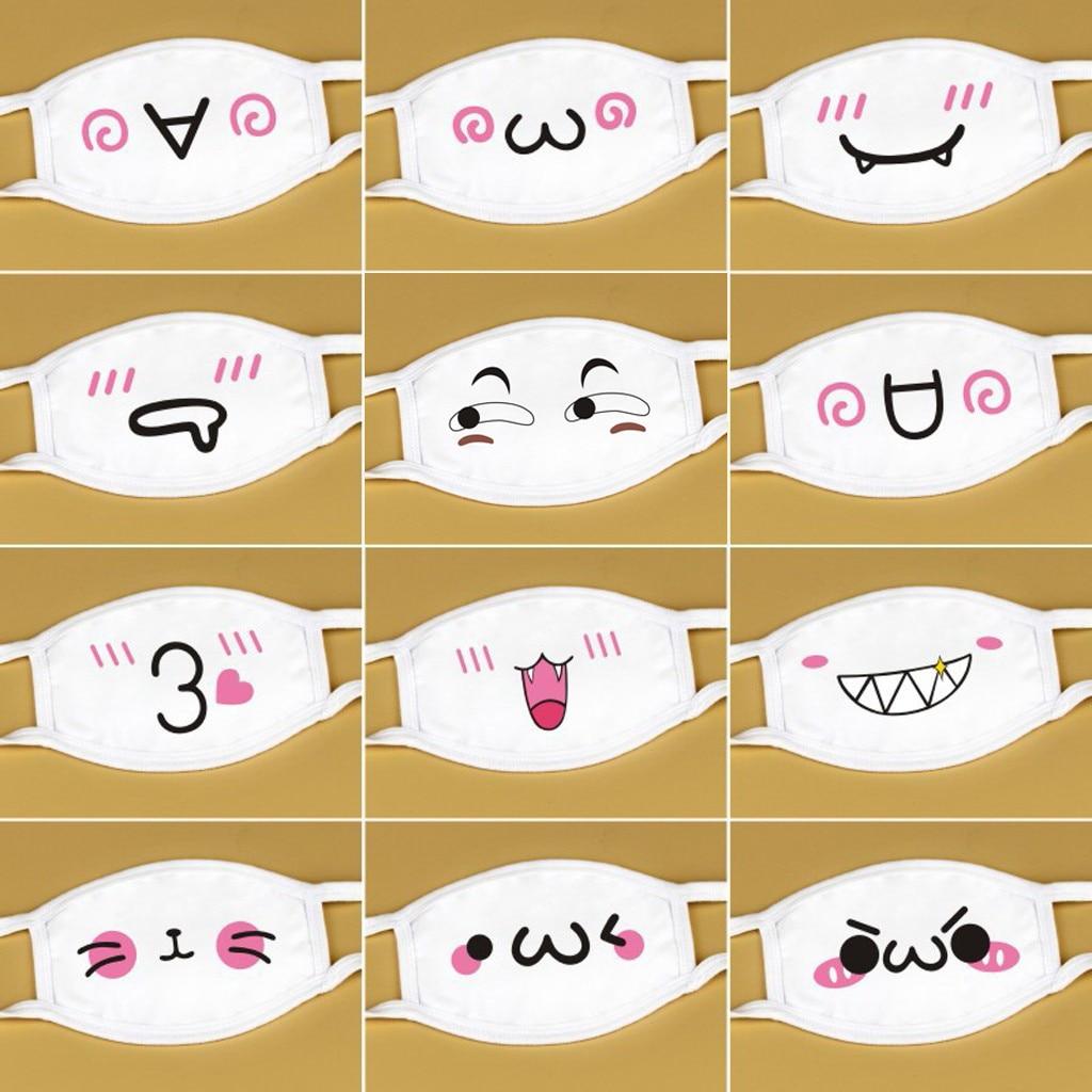 Многоразовая маска для рта унисекс, белые милые аниме кавайные маски для лица, моющаяся дышащая маска, маска, маски, маски, фильтры для маски