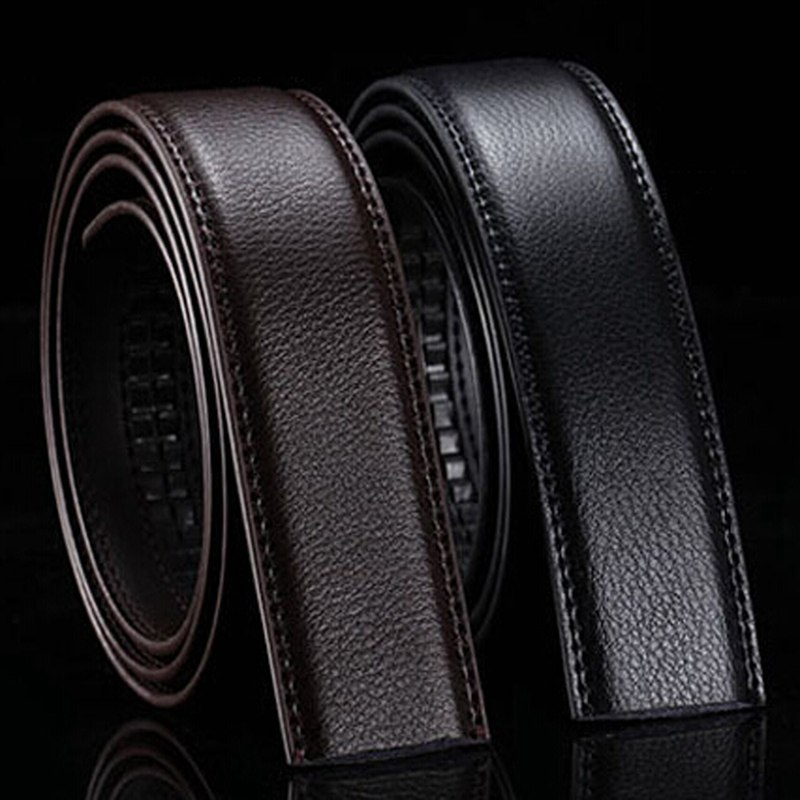 New Brand No Buckle 3.5cm Wide Genuine Leather Automatic Belt Body Strap Without Buckle Belts Men Go