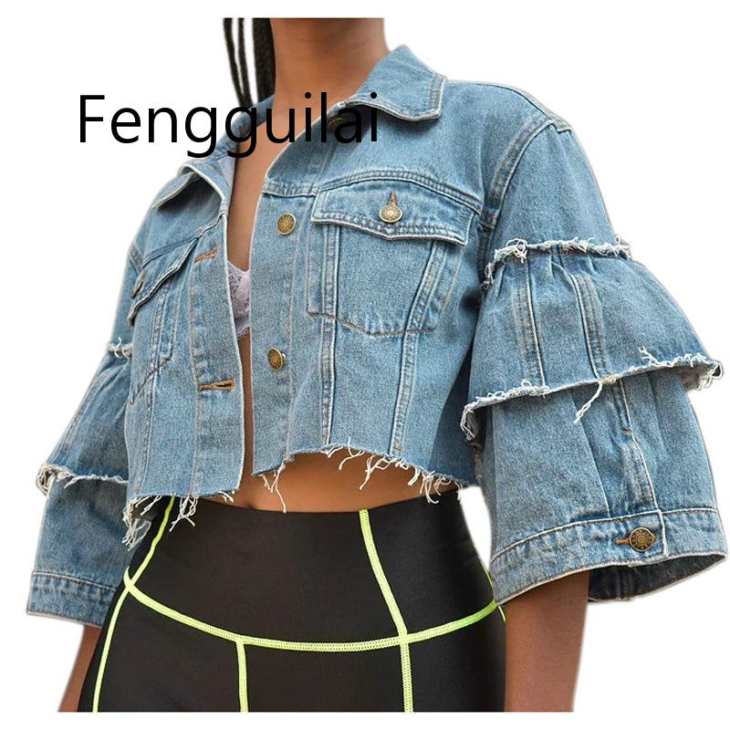 FENGGUILAI-Chaquetas vaqueras sexys para mujer, ropa de calle de manga acampanada con botones, abrigo corto Vintage para Club, otoño e invierno, 2019