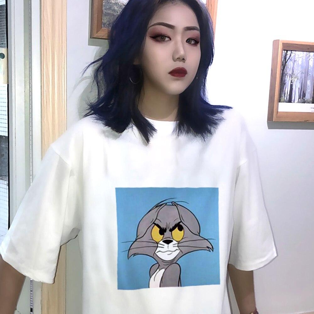 fun cute Cartoon Cat Tom Mouse Jerry print Harajuku dropshipping vintage Top vegan Ulzzang Tee clothes Short sleeve woman tshirt