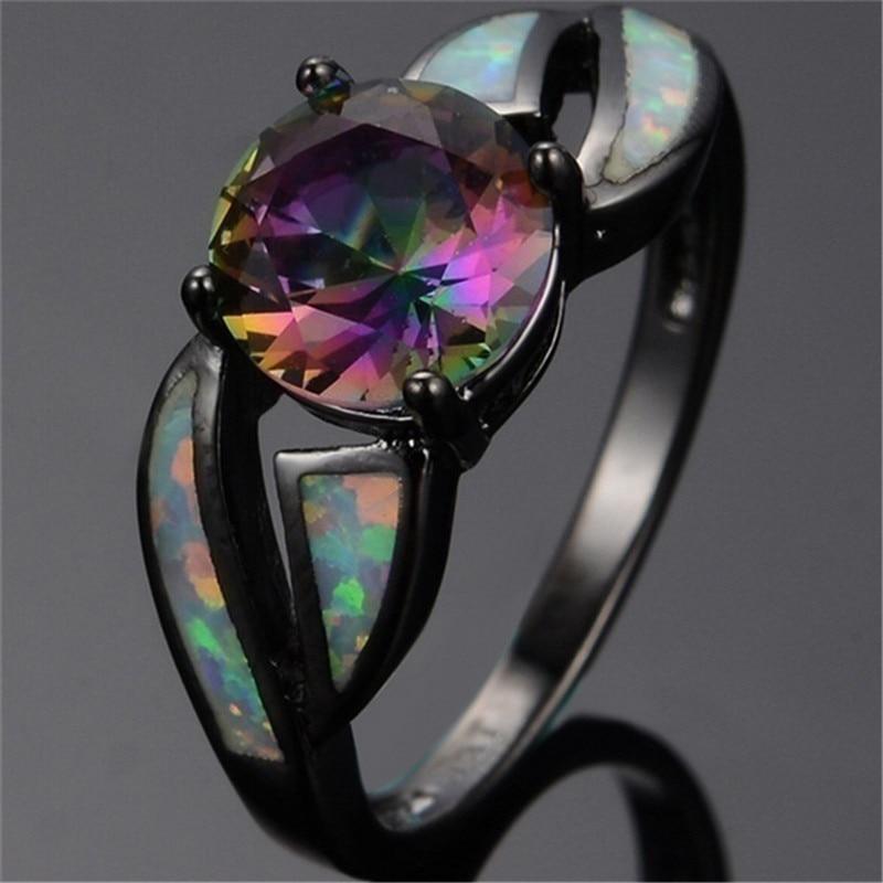 Nuevo anillo para mujer, anillo clásico Multicolor misterioso Arco Iris negro para mujer, mejor regalo