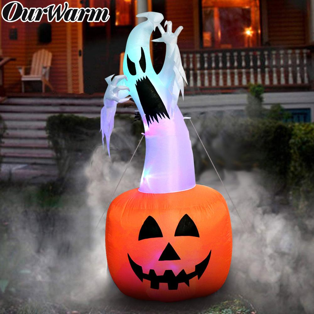 OurWarm, decoraciones de Halloween de 180cm, calabaza fantasma inflable, utilería de Terror al aire libre, juguete inflable para casa embrujada, suministros