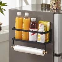 magnet fridge shelf paper towel roll holder magnetic storage rack spice hang rack decorative metal shelf kitchen organizer
