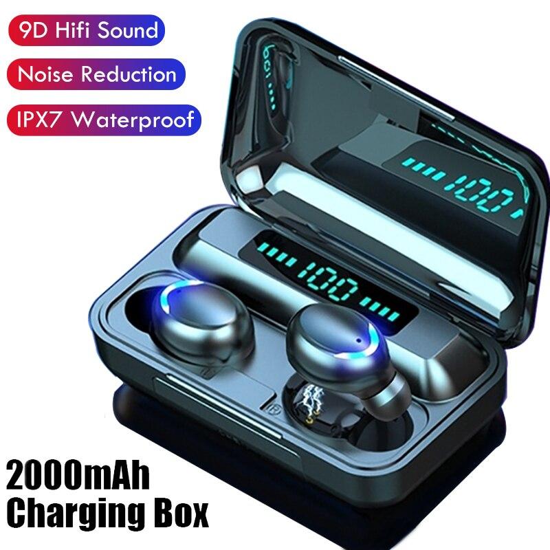 Auriculares TWS Bluetooth y pantalla LED, auriculares inalámbricos con estuche de carga, Auriculares deportivos resistentes al agua, auriculares