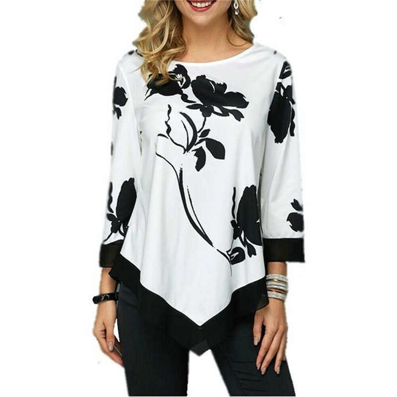 2020 moda feminina casual manga longa primavera t-camisa floral do vintage t camisa de verão camisetas femme senhoras t camisa roupas S-5XL