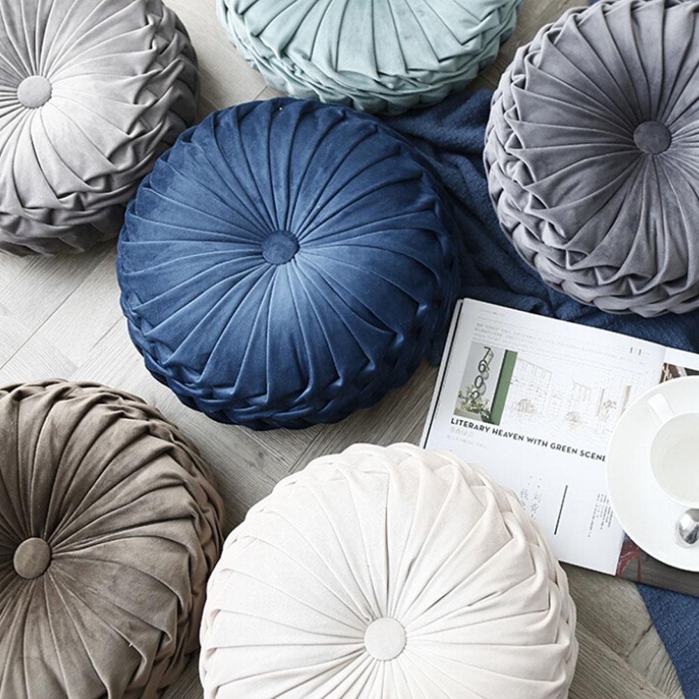 25 cojín de terciopelo de lujo súper europeo de moda, cojín de tela redonda hecho a mano con rueda plisada, cojín de asiento de calabaza