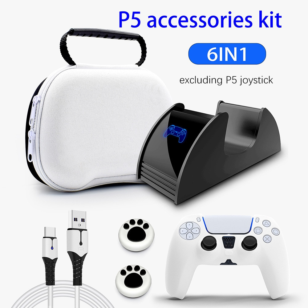 PS5 Controller Accessories Bundle,Game Controller Storage Case,6 in1 Carrying Travel Protective Case for PlayStation 5 Cover
