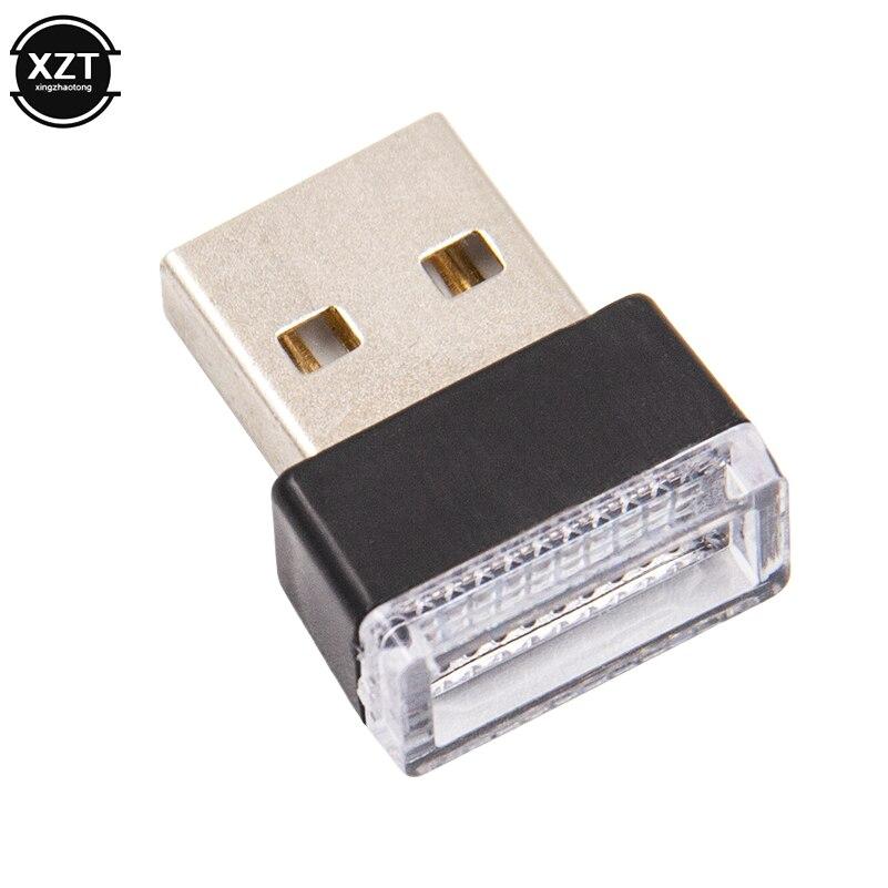 Mini LED Auto Interior USB atmósfera luz coche enchufe y Play decoración lámpara iluminación de emergencia PC accesorios de coche