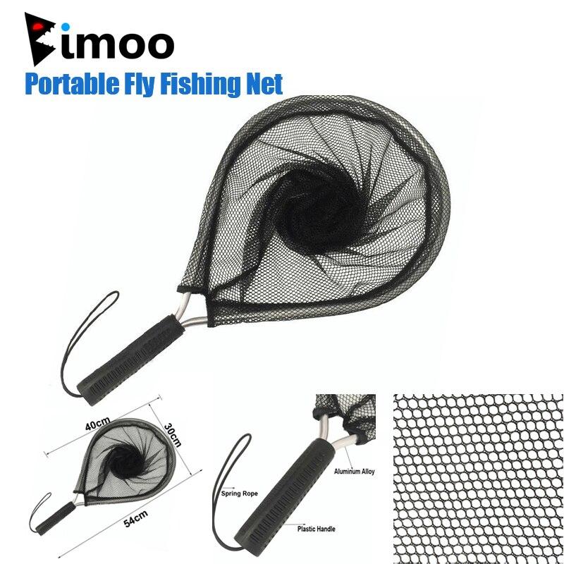 Bimoo 1 Pza red de pesca portátil 54cm aleación de aluminio Polo de aterrizaje poliéster red negra para red de pesca con mosca redes de pesca con trampa