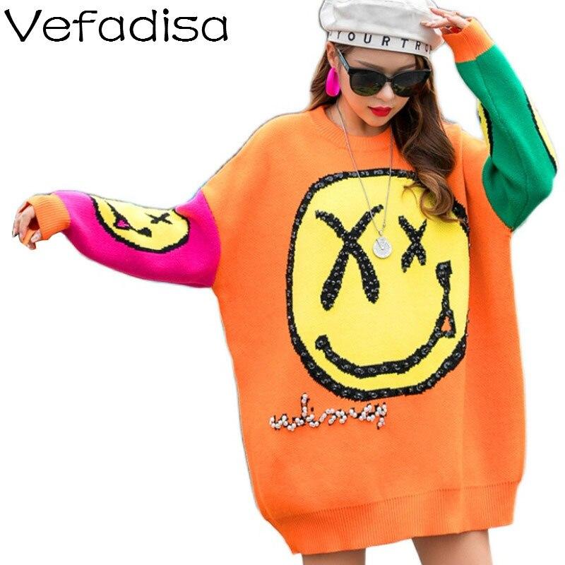 Vefadisa Blauw Oranje Glimlach Gezicht Print Trui Vrouwen 2020 Fall Winter Sequin Trui Gebreide Jas Plus Size Trui Jas QYF4474