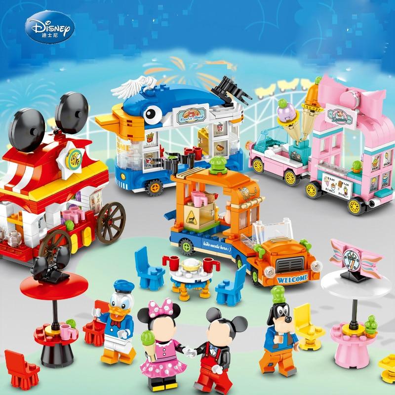 Novo 745 pçs disney streetscape castelo mickey minnie pato sy6578 simples trole modelo blocos para meninas menino brinquedo presente