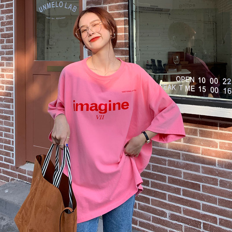 3 Sizes Letter Printed Casual Loose Basic Fashion College Wind Street Style Summer 2021 New Arrival Basic Women Female T-shirts