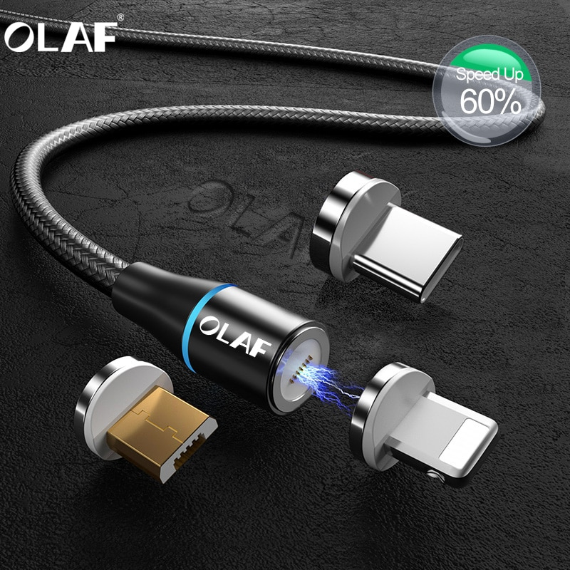 Cable magnético 3A Micro USB tipo C para Samsung S10 S9 Huawei carga rápida USB C Cable magnético para iPhone 11 X Cable cargador 1M 2M
