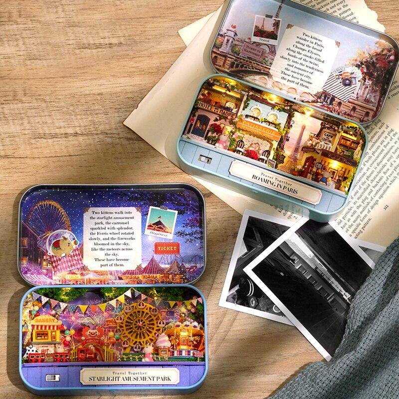 Мебель коробка театр DIY Кукольный дом модель миниатюрная сцена деревянная миниатюрная головоломка кукольный домик игрушки для детей Трилогия путешествия