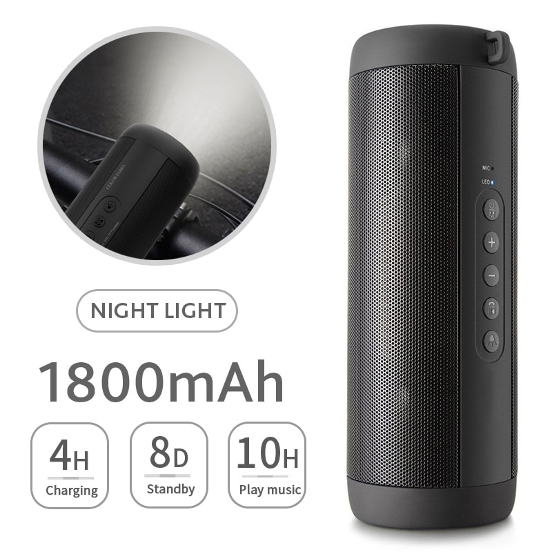 Altavoz inalámbrico portátil con Bluetooth Subwoofer de tarjeta de columna de sonido inalámbrico LED impermeable para exteriores compatible con tarjeta TF Entrada de Radio FM