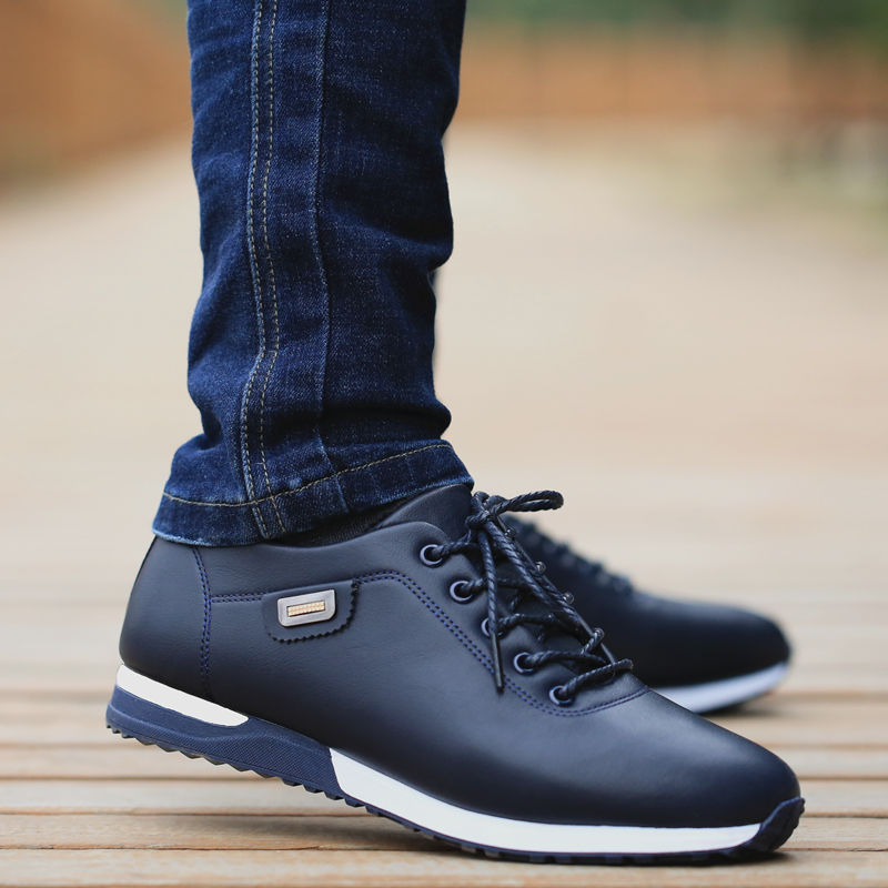 Men's PU Leather Business Casual Shoes for Man Outdoor Breathable Sneakers Male Fashion Loafers Walk