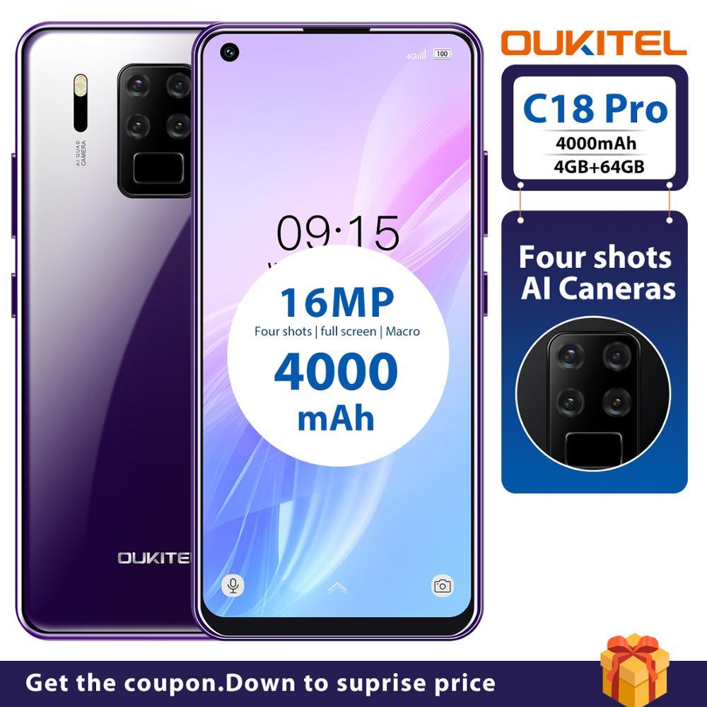 Oukitel-teléfono inteligente C18 Pro, teléfono móvil 4G con pantalla de 6,55 pulgadas, batería de 4000mAh, Octa Core, Android 9,0, procesador MT6757, 4GB RAM, 64GB rom, 4 cámaras traseras, reconocimiento de huella e identificación facial
