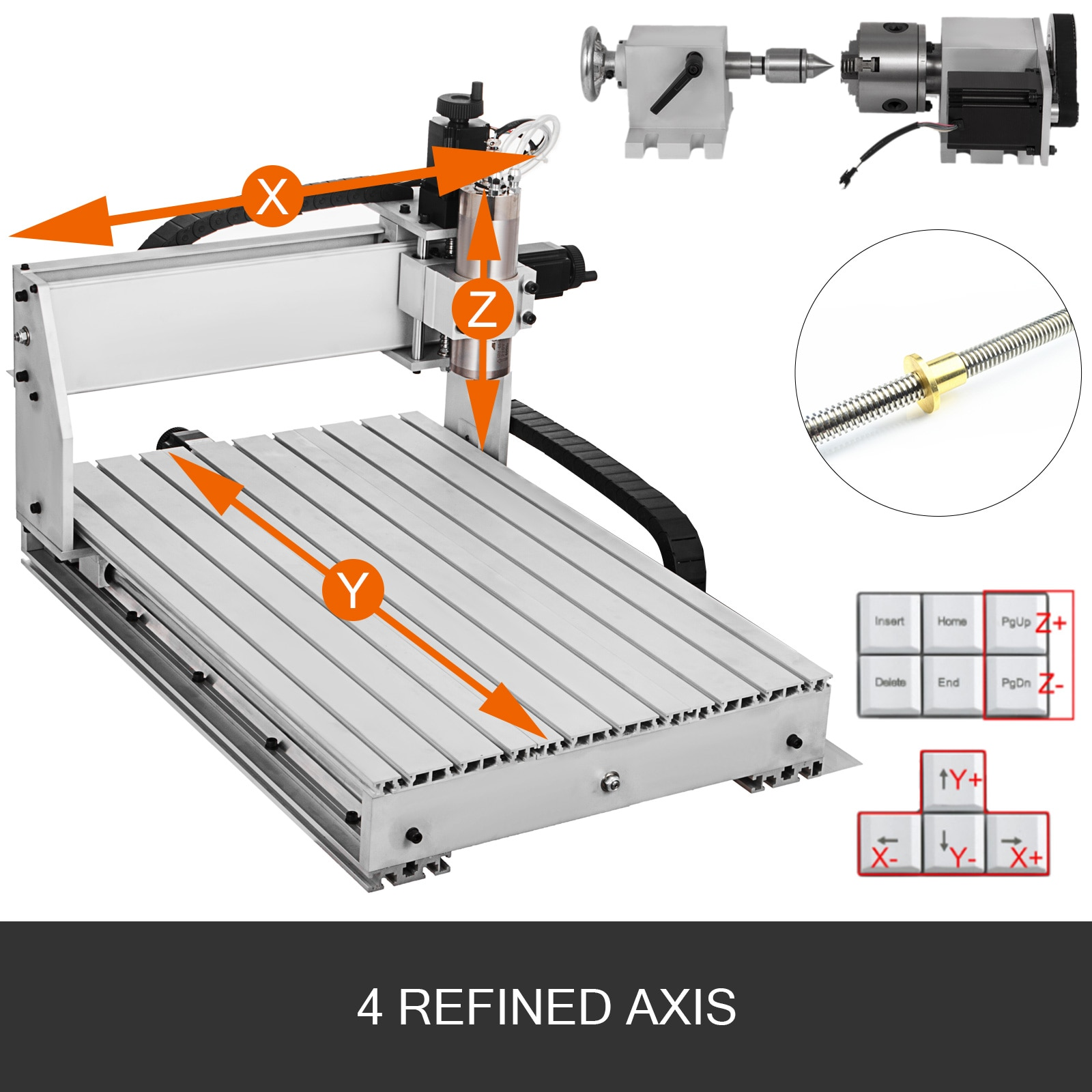 VEVOR 3 / 4 Axis CNC Router 6040/3040/3020 Laser Engraver USB Port Milling Engraving Machine Cutter for DIY Wood PCB PVC Acrylic enlarge